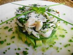 Stacked crab and avocado salad.
