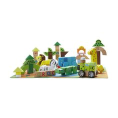 Jungle Animal Wooden Building Blocks | KmartNZ Wooden Building Blocks, Wooden Buildings, Jungle Animals