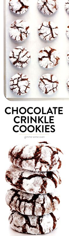 LOVE this chocolate crinkle cookies recipe Its easy to make super chocolatey and delicious and always perfect for the holidays Gimme Some Oven Chocolate Crinkle Cookies, Chocolate Crinkles, Chocolate Chips, Cookie Desserts, Cookie Recipes, Dessert Recipes, Christmas Chocolate, Christmas Desserts, Christmas Holidays