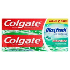 Colgate Anticavity Fluoride Toothpaste With Whitening MaxFresh With Mini Breath Strips Clean Mint Gel - 2 PK Flavored Toothpaste, Toothpaste Brands, Personal Hygiene, Personal Care, Bad Breath, Health Facts, Active Ingredient, Teeth Whitening