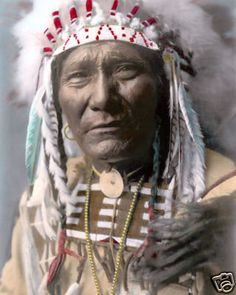 "Ghost Bear Native American Crow Warrior 1908 8x10"" Hand Color Tinted Photograph 
