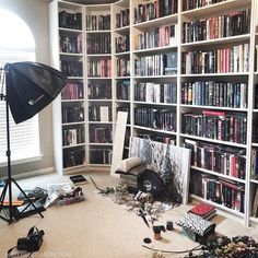 Happy #shelfiesunday ! I thought Id show you a behind the scenes shot of my messy #libraryroom This is how it looks as Im taking pictures. What are plans for the day? I have a busy day ahead but I hope I can take a few pics. #sundayshelfie #shelfie #bookshelves #fairyloot #behindthescenes #bookhoarder