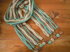 crochet scarf, aqua brown cream wave by PashaBodrum