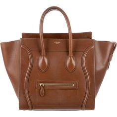 Pre-owned C?line Mini Luggage Tote ($1,495) ❤ liked on Polyvore featuring bags, handbags, tote bags, brown, brown leather tote, brown leather purse, handbags totes, leather purses and zipper tote