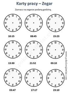zegar-karty-pracy-ucznia-cwiczenia-zegar-karta-pracy-dla-dzieci 2nd Grade Math Worksheets, School Worksheets, Worksheets For Kids, Claves Wifi, Homework Board, Polish Language, Kids Study, Teaching Time, Math For Kids