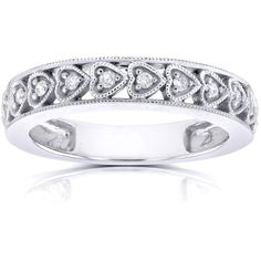 Annello 14k White Gold 1/10ct TDW Round Diamond Heart Band (H-I ($342) ❤ liked on Polyvore featuring jewelry, rings, white, white gold diamond ring, heart ring, band rings, 14k ring and diamond band ring