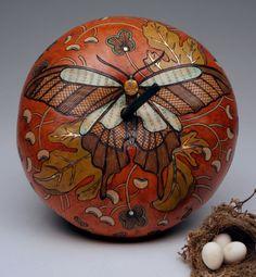 Fall Butterfly , by gourd artist,  Carla Bratt. Fall inspired gourd art.