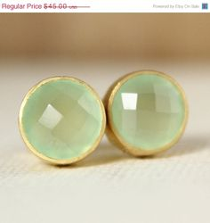 SALE Gold Green Chalcedony Stud Earrings - Post Setting - Honey Dew Green