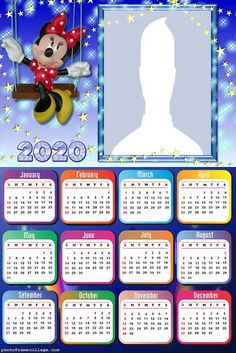Minnie in Blue: Free Printable 2020 Calendar. Minnie Mouse, Photo Frame Design, Collage Frames, 2019 Calendar, Blogger Templates, Photomontage, Special Gifts, Free Printables, Diy And Crafts