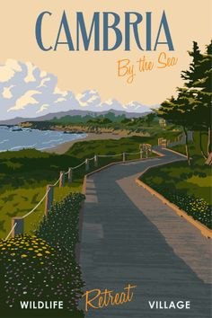 Steve Thomas Cambria, CA Limited Edition Giclee Print Livingreen Cambria California, California Coast, California Travel, Vintage California, Visit California, Vintage Art Prints, Vintage Travel Posters, Old Poster, Steve Thomas