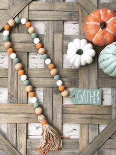 Orange Green & White Fall Autumn Gather Farmhouse Wood Bead Garland | Rae Dunn Inspired Wood Bead Garland, Diy Garland, Beaded Garland, Pumpkin Crafts, Fall Crafts, Diy Crafts, Wood Tags, Bazaar Crafts, Fall Diy