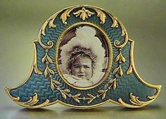 Faberge antique Russian miniature photo frame  gilded silver and gray guilloche enamel