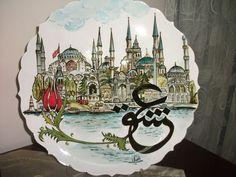 Ceramic Plates, Decorative Plates, Turkish Tiles, Caligraphy, Tile Art, Islamic Art, Istanbul, Paint Colors, Pottery