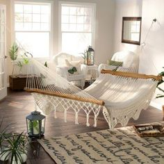 How to choose the right Indoor Hammock Design? The first place where this can be answered is in the choice of the type of hammock you want. There are basically two types of Indoor Hammocks that you… Hammock In Bedroom, Indoor Hammock Bed, Hammock Chair, Backyard Hammock, Diy Hammock, Bohemian Bedrooms, Coastal Bedrooms, Shabby Chic Living Room, Living Room Decor