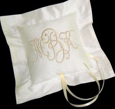 Silk Ring Bearer Pillow embroidered with Arabasque monogram