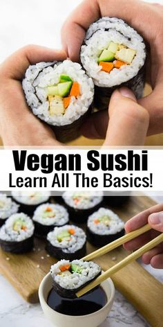 - Sushi without fish? Absolutely no problem! If you are a sushi fan, you will love this easy vegan sushi recipe with avocado, tofu, carrots, and cucumber. Homemade sushi can be so easy! Learn how to make sushi with step-by-step photos! Find more vegan re Vegan Recipes Easy, Fish Recipes, Whole Food Recipes, Cooking Recipes, Cucumber Recipes, Recipes With Avocado, Vegetarian Sushi Recipes, Cooked Sushi Recipes, Vegan Recipes Japanese