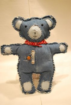 Items similar to Blue Jean Teddy Bear from Recycled Jeans on Etsy Jean Crafts, Denim Crafts, Quilting Projects, Sewing Projects, Blue Jeans, Teddy Bear Clothes, Sewing Jeans, Denim And Lace, Sewing Toys