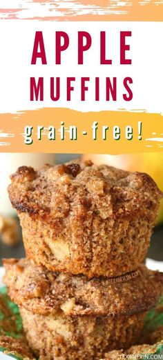Gluten-free Apple Muffins (grain–free) - Texanerin Baking - These super moist gluten-free apple muffins have the most amazing texture and are super simple to m - Healthy Gluten Free Recipes, Gluten Free Sweets, Gf Recipes, Foods With Gluten, Gluten Free Baking, Sans Gluten, Apple Recipes, Cooking Recipes, Family Recipes