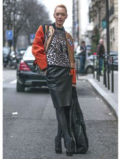 Don't have yourself a leather skirt? Go get one already, lady!    Read more: Street Style at Fall 2013 Paris Fashion Week - PFW Street Style Pictures - Marie Claire