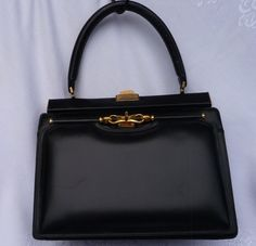 1950-60s Zgor Black Leather Purse by RosarieVintage on Etsy