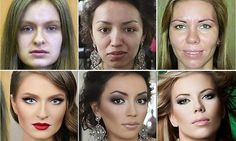 Nine women's dramatic makeovers are documented in amazing before and after photographs. They were transformed by makeup artists including Vadim Andreev from Russia.