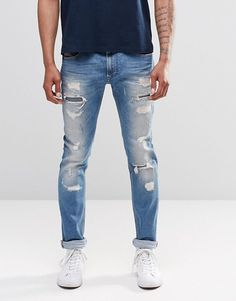 Browse online for the newest Diesel Thavar Slim Jeans Heavy Distress Repair styles. Shop easier with ASOS' multiple payments and return options (Ts&Cs apply). Jogg Jeans, Diesel Jeans, Denim Bag, Slim Jeans, Bag Accessories, Fashion Online, Asos, Mens Fashion, My Style