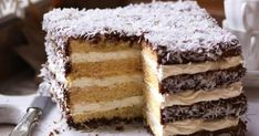The classic Australian lamington gets a mega-sized makeover for this delicious giant layer cake. Australian Desserts, Australian Food, Square Cake Pans, Square Cakes, Food Cakes, Cupcake Cakes, Cupcakes, Yummy Treats, Sweet Treats