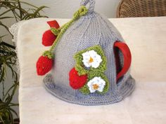 Strawberry knitted teacosy Summertime by ElCortijoCrafts on Etsy, $38.00