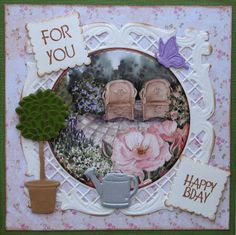 Karla-Krea: Zomerse kaart Marianne Design, Are You Happy, Floral Wreath, Tags, Decor, Cards, Floral Crown, Decoration, Decorating