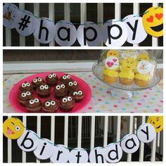 Emoji banner and cupcakes