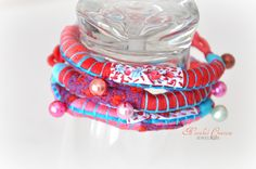 Recycled Textile Jewelry Fabric Bracelet  Mothers Day Red and Blue Spring Fashion Eco Friendly  Fabric Jewelry Allergy Free Jewelry. $28.00, via Etsy.