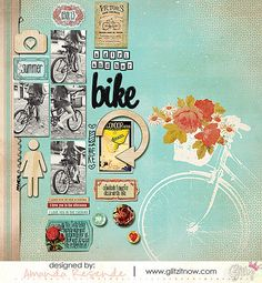 #papercraft #scrapbook #layout    HappyTravels-AmandaResende Love how the screen print is balanced by the cluster of photos and embellishments