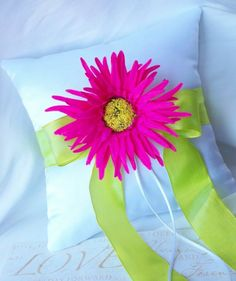 Vibrant Hot Pink and Lime Green Wedding Ring Pillow-Spider Daisy Yellow Center