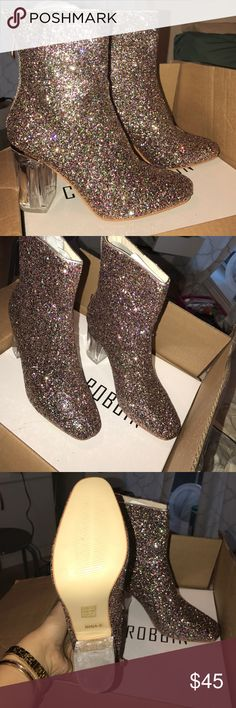 Clear Heel Glitter Boots sz 8 NEW AND UNWORN! Still in box! They are a size 8. Bought for $50 from UrbanOG.com! UrbanOG Shoes Ankle Boots & Booties