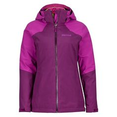 Innovation in component design makes the woman's Featherless Component Jacket truly impressive. The exterior shell is a two layer Oxford Cloth MemBrain® Waterproof/Breathable Fabric, fully seam sealed for total weather protection in beautiful fabric combinations for that sporty neck and shoulder color contrast which is the hallmark of Marmot's line. Full angel-wing movement means you can do the wave at the game, reach up on the rocks, or hail a cab, without your jacket riding up.