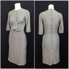 Vintage 1950s Silver Metallic Party Dress by Paul Sachs / Womens Small / 50s Designer Long Sleeve Wiggle Dress  Features: • Silver metallic