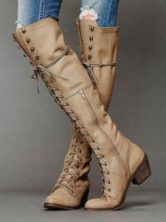 """Cream High Lace Up Leather Boots .... i don't even like """"thigh high/extra tall"""" boots BUT i like these!!"""