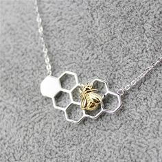Beautiful and Unique Sterling Silver Bee On The Honeycomb Necklace