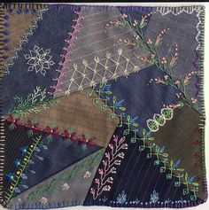 the most extrairdinary victorian patchwork crazy quilts Folk Embroidery, Silk Ribbon Embroidery, Embroidery Stitches, Embroidery Patterns, Machine Embroidery, Embroidery Techniques, Embroidery Materials, Embroidery Supplies, Flower Embroidery