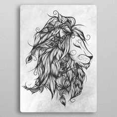 Poetic Lion B metal poster