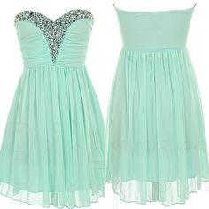 Mint Green Sweetheart Chiffon Sleeveless Short Prom Dress B