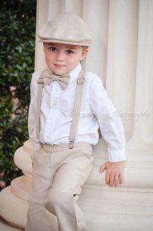 Khaki bow tie and suspenders
