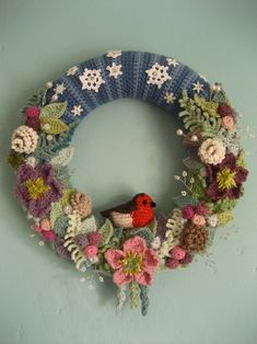 Lucy never fails to wow. Links to all the patterns for various leaves flowers and other resources in this post. Crochet Christmas wreath by Lucy of Attic 24 Crochet Christmas Wreath, Crochet Wreath, Crochet Christmas Decorations, Xmas Wreaths, Christmas Knitting, Crochet Flowers, Christmas Crafts, Winter Wreaths, Christmas Christmas