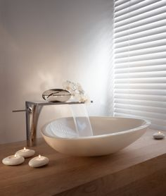 Axor Massaud Vessel Sink, Large and single hole faucet--potential for entry powder room