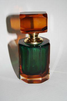 Vintage Color Glass Perfume Flask Bottle Screwed With Applicator Green Orange