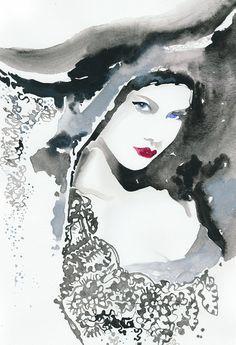 Three paintings of a Vivienne Westwood model. Etsy ~ silverridgestudio