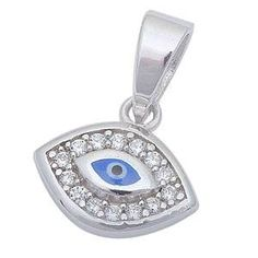 Sterling Silver Evil Eye with CZ Pendant Sterling Silver Bracelets, Silver Necklaces, Sterling Silver Pendants, 925 Silver, Silver Metal, Silver Ring, Silver Earrings, Evil Eye Pendant, Moon Necklace