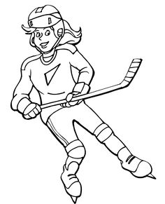 Girls Hockey Coloring Sheet printable