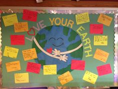 Earth Day bulletin board with thank you notes to the Earth.