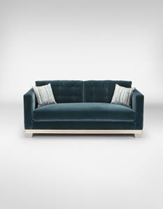 Melbury Sofa<br/>Nickel plated bronze legs, gilded wood, upholstery<br/>H78 x W190 x D90 cm